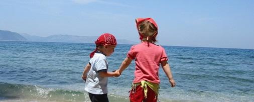 paseo en la playa - verde y azul