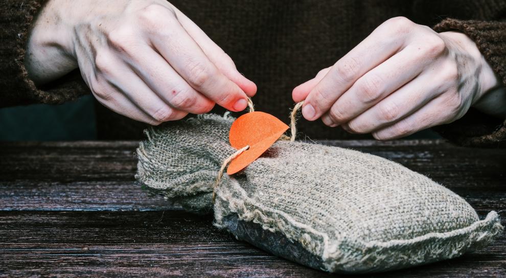 saco de tela - envolver regalos